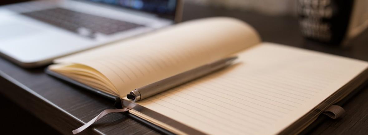 An open journal on a desk